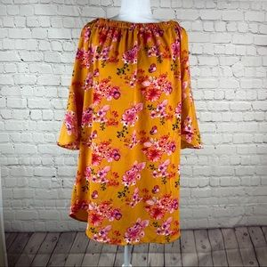 Haute Monde Burnt Orange Flowered Dress Sz S